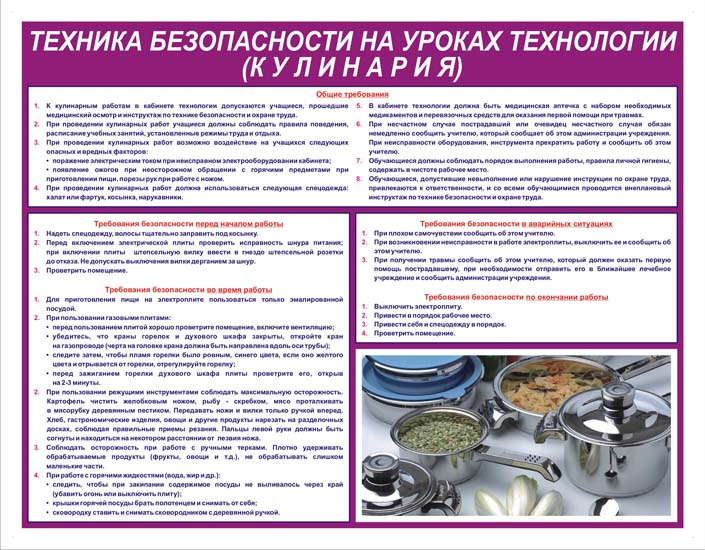 На уроках технологии кулинария